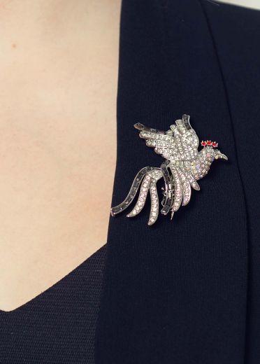 Twilight Crystal Bird Hair Clip & Brooch