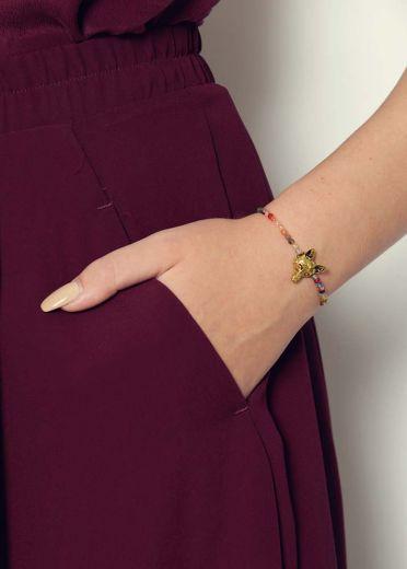 Ruby Rainbow Agate Fox Bracelet