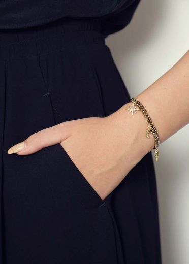 Pyrite Star Charm Bracelet