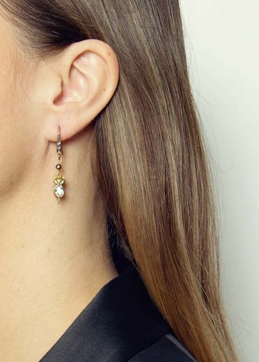 Pyrite Fox Crystal Earrings