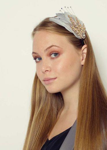 Grey Verity Crystal & Feather Hairband