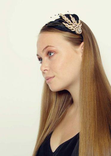 Black Verity Crystal & Feather Hairband