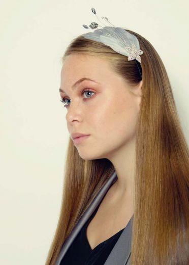 Grey Sparkle Star Crystal & Feather Hairband