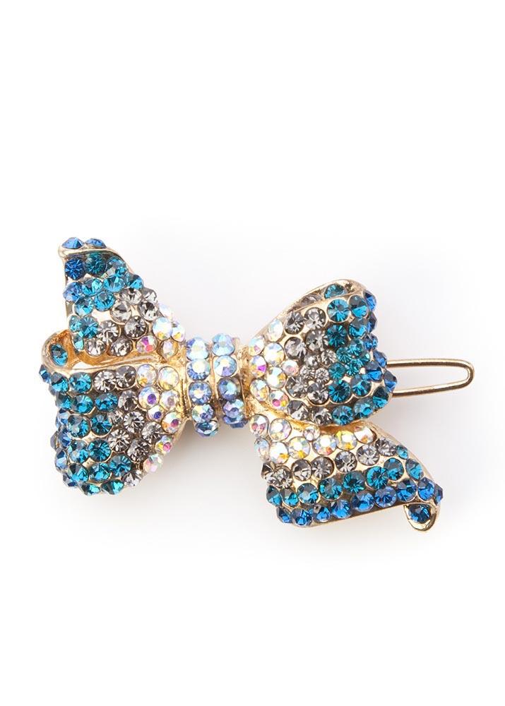 Blue crystal bow hair clip
