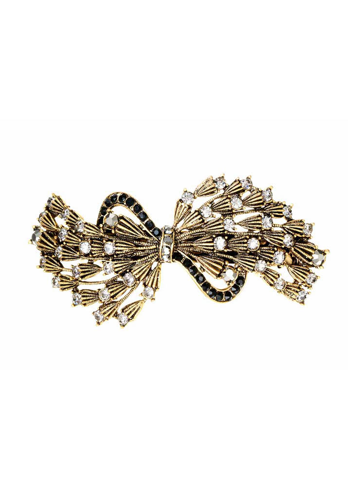 Pewter Bow Barrette Clip