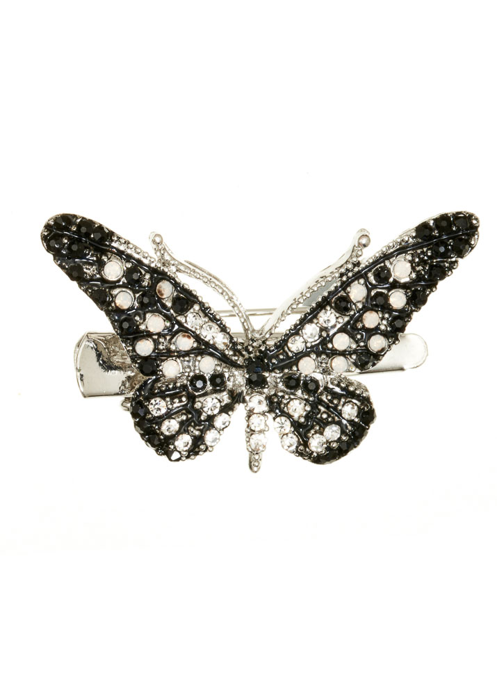 Mini Black & White Butterfly Hairclip & Brooch