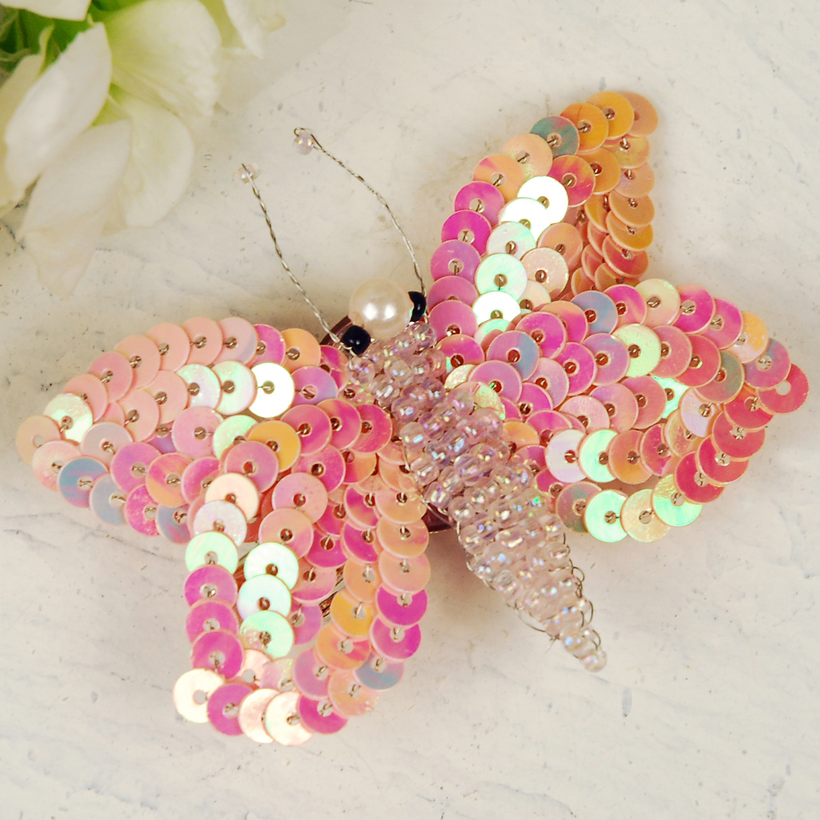 Peach Sequin Butterfly Hairclip & Brooch