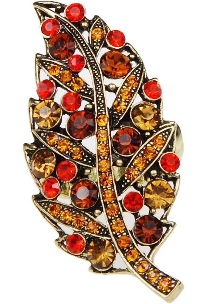 Amber Leaf Ring