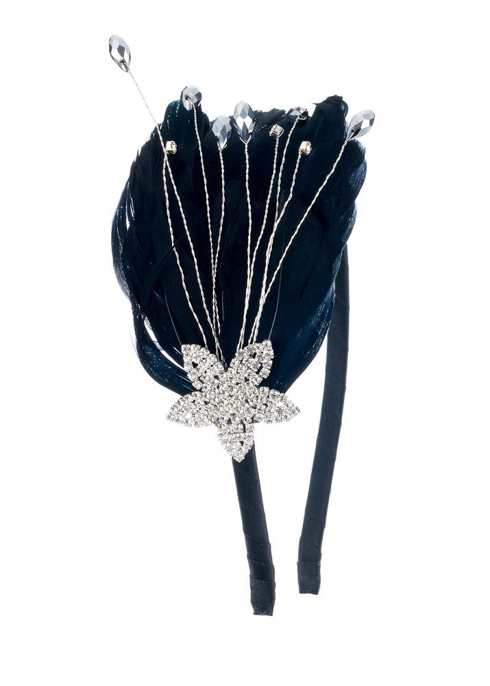 Black Sparkle Star Crystal & Feather Hairband