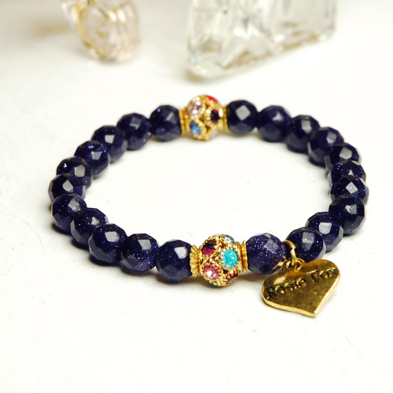stainless braid friendship steel bracelet heart img navy gold