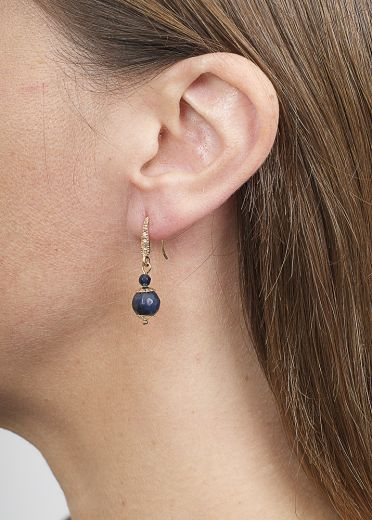 Royal Navy Agate Ball Earrings