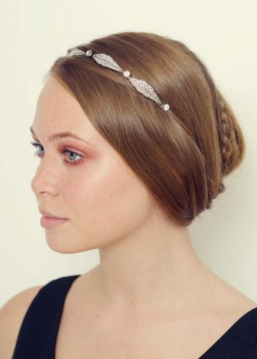 Silver Crystal Leaf Hairband