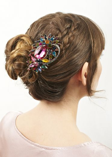 Rose Rainbow Bouquet Hair Clip and Brooch