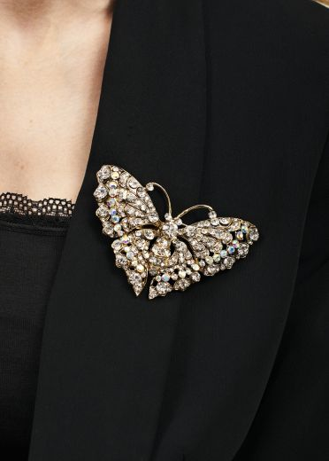 Exquisite Crystal Butterfly Brooch and Hair Clip