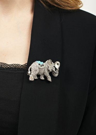 Silver Crystal Elephant Brooch