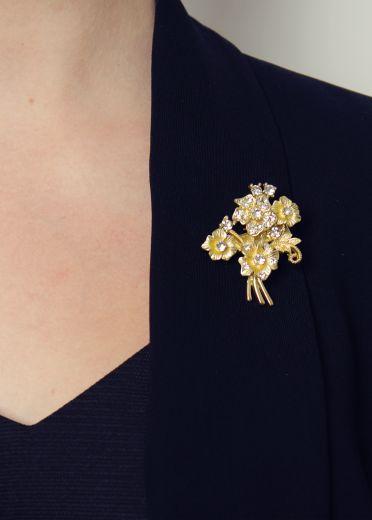 Golden Flowers Hairclip & Brooch