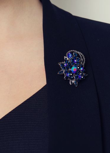 Blue Crystal Bouquet Hairclip & Brooch