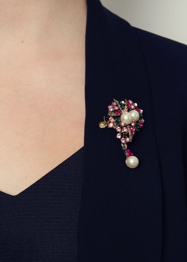 Pink Pearl Bouquet Hairclip & Brooch