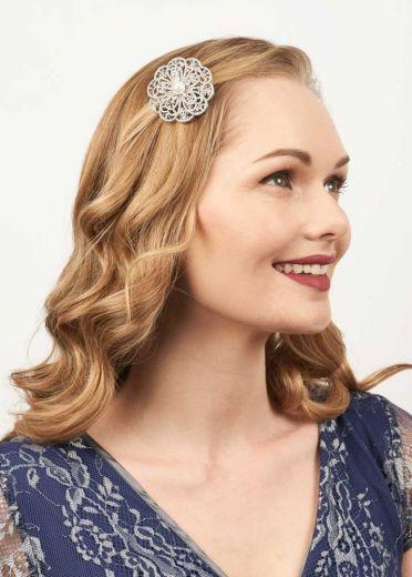Crystal & Freshwater Pearl Rose Hairclip & Brooch