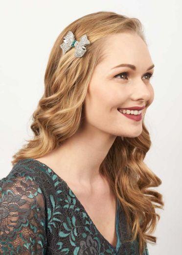 Crystal & Emerald Bow Hairclip & Brooch