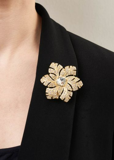Gold & Crystal Rose Brooch