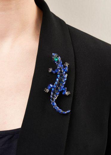 Cobalt Blue Gecko Brooch