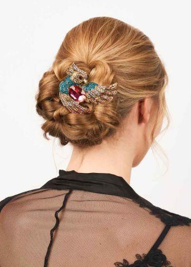 Flamboyant Cerise Parrot Hairclip & Brooch