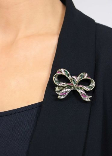 Electric Crystal Bow Brooch & Hairclip