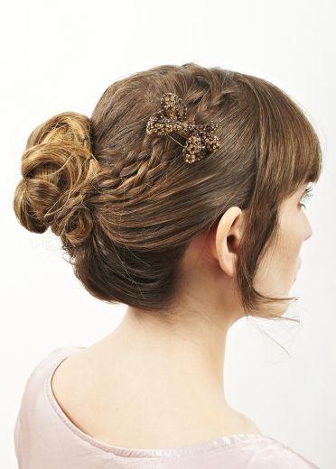 Gold Crystal Bow Brooch & Hairclip