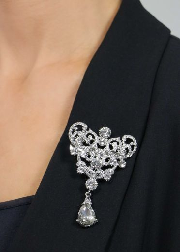 Silver Crown Crystal Drop Brooch