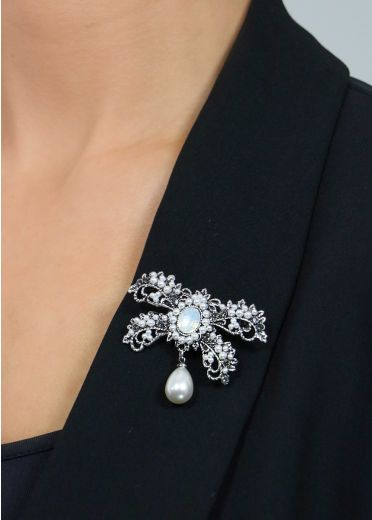 Crystal and Pearl Brooch & Hairclip