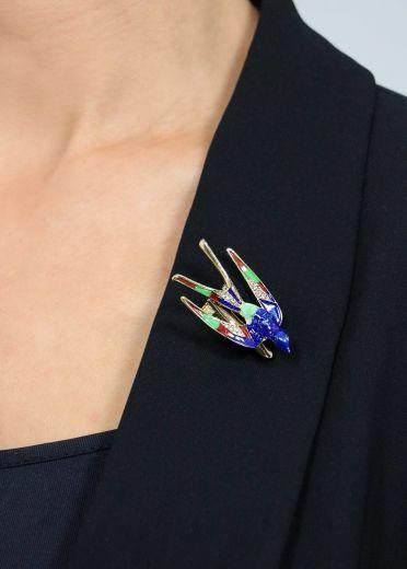Crystal Blue Starling Bird Brooch & Hairclip