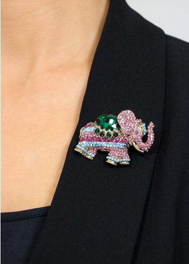Emerald Rose Crystal Elephant Hairclip & Brooch