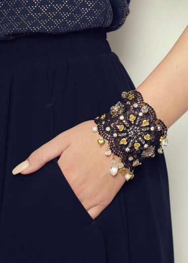 Black gold and pewter lace cuff