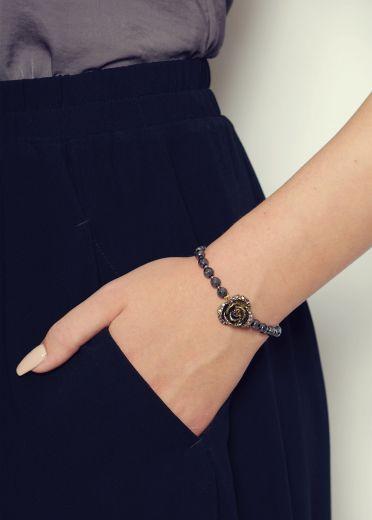 Hematite Rose Bracelet