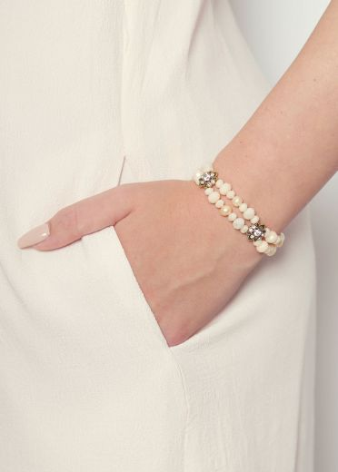 Pink Pearl & Crystal Cocktail Cuff