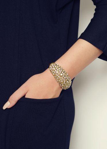 Vintage Crystal Gold Cuff