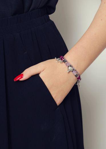 Berry Agate Charm Gemstone Bracelet