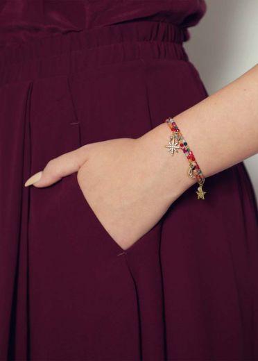 Ruby Rainbow Agate Star Charm Bracelet