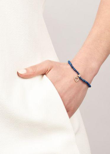 Cobalt Blue Freshwater Pearl Crystal Heart Bracelet