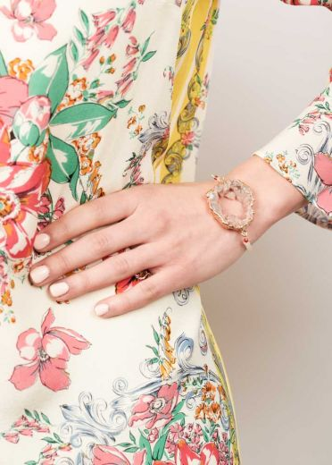 Ruby Rose Agate Crystal Bracelet