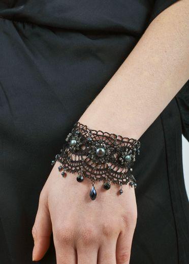 Black Pearl & Lace Bracelet