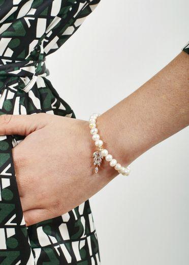 Ivory Freshwater Pearl Diva Crystal Leaf Bracelet