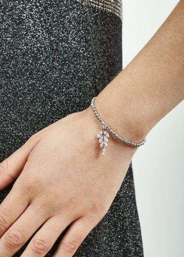 Silver Hematite Crystal Leaf Bracelet
