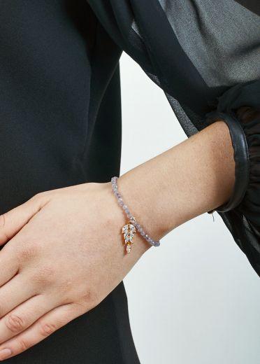 Dove Agate Crystal Leaf Bracelet
