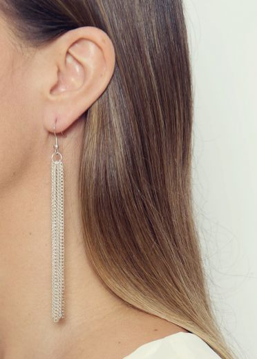 Atlantis Silver Chain Earrings