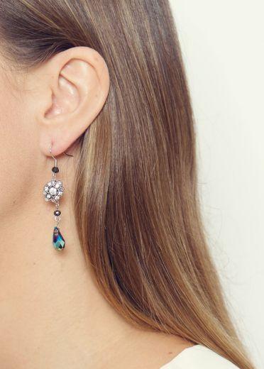 Smoky Vintage Crystal Earrings