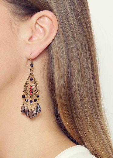 Navy Starstone & Cherry Crystal Chandelier Earrings