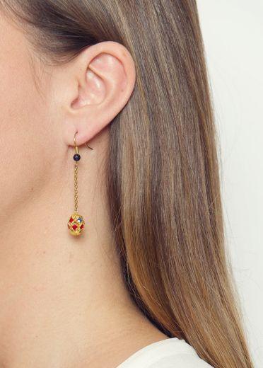 Navy Starstone & Crystal Sphere Earrings