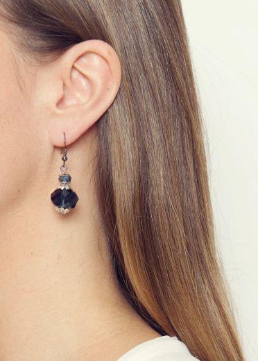 Navy Crystal Earrings
